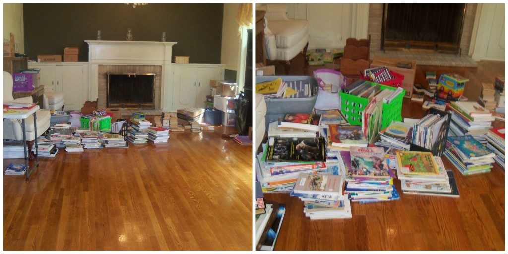 By the 3rd day, I was able to unpack or relocate all of the boxes! What was left was all these stacks of curriculum! This is what happens when you have been homeschooling eclectic style for over a decade! Now to make sense out of them!