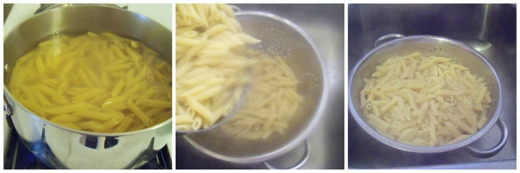 Boil pasta then drain.