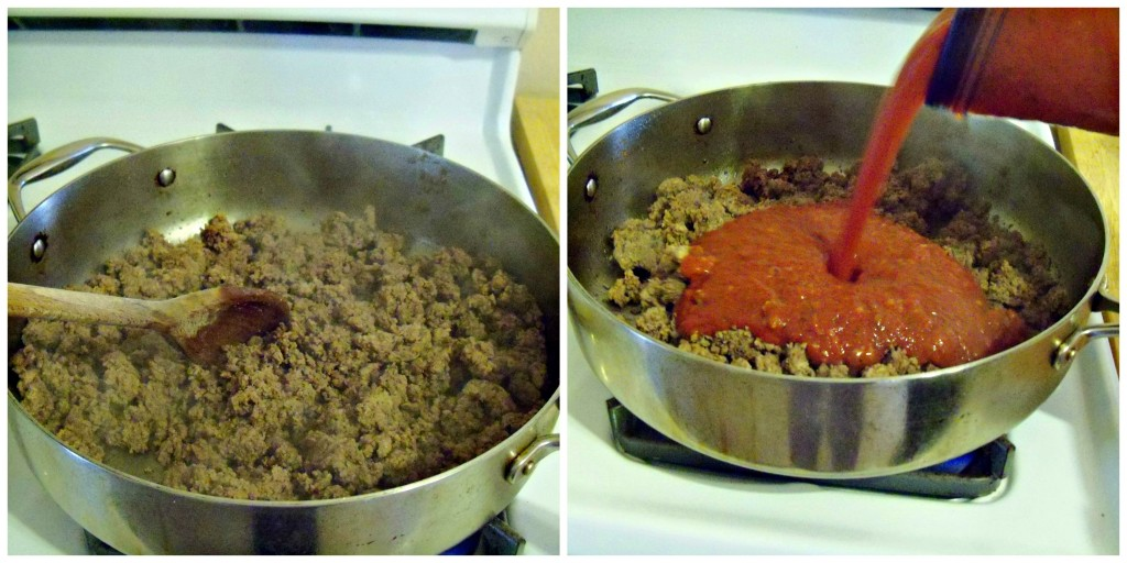 Browned ground beef and sauce