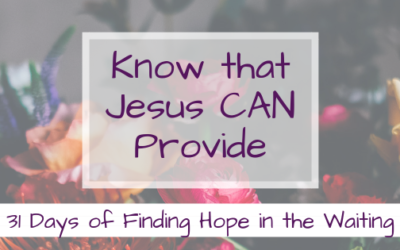 How you can Know that Jesus CAN Provide {Finding Hope in the Waiting}