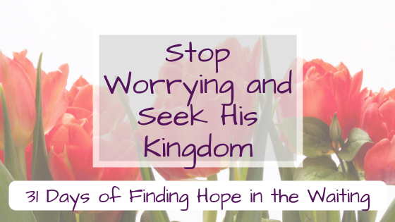 Stop Worrying and Seek His Kingdom {31 Days of Finding Hope in the Waiting}