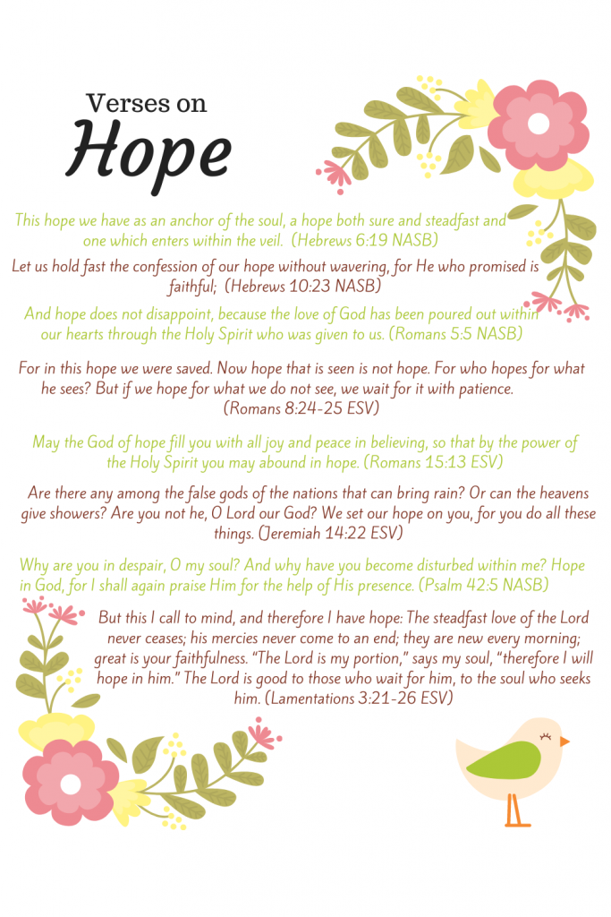 Is there any good news out there? Anything to hope for?  Yes, there is hope and there is good news -God is faithful and has overcome it all! A printable of favorite verses on hope.